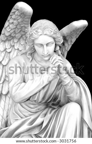 Cemetery angel with hands clasped - stock photo