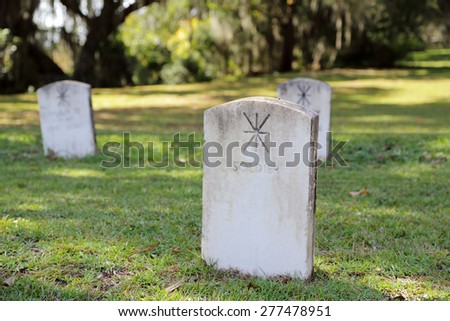 Cemetery headstones for soldiers - stock photo