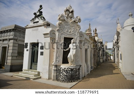 Cemetery in Recoleta neighbourhood of Buenos Aires - stock photo