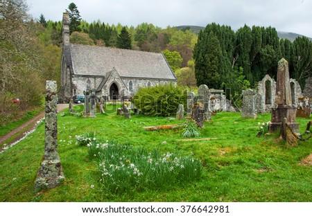 Cemetery in Scotland - stock photo