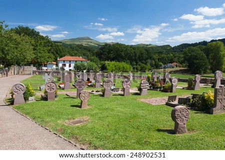 Cemetery in the village of the Basque, mountains, France - stock photo