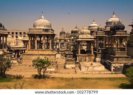 Cemetery in Udaipur in India - stock photo