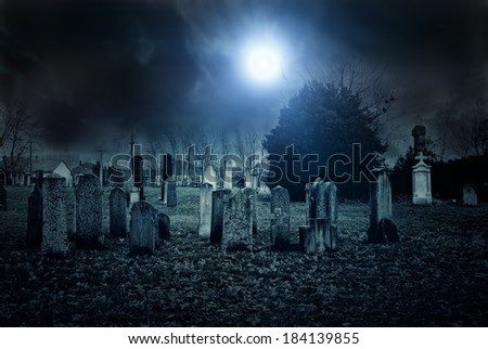 Cemetery night - stock photo