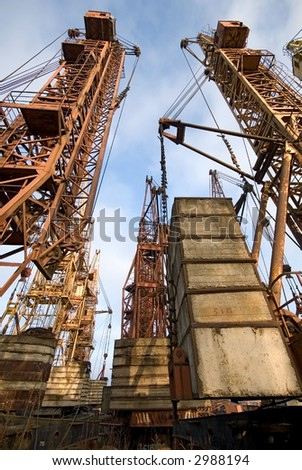 Cemetery of old elevating cranes