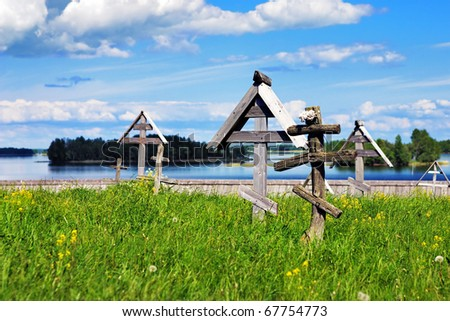 Cemetery with wooden crosses in Kizhi, Russia