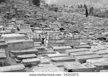 Cemetery within the old city of Jerusalem - stock photo
