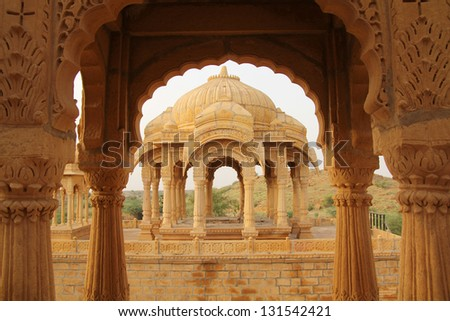 Cenotaphs for important maharaja in Rajasthan, India - stock photo