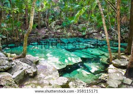 Cenote Azul small lake of mayan jungle  in Yucatan, Mexico.  - stock photo