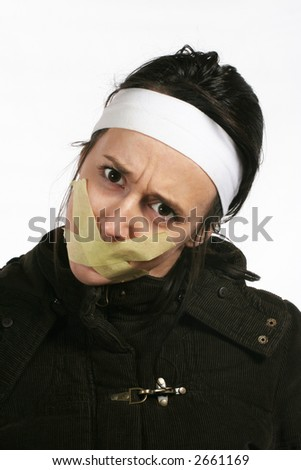 Censor and freedom of speech concept. Mouth tied. Human rights - stock photo