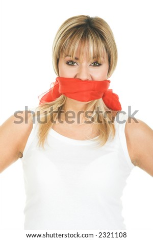 Censored and freedom of speech concept. Mouth tied and covered silence - stock photo