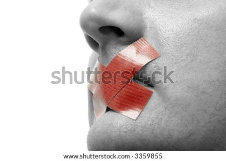 Censored Man with red tape on his mouth. Colorkey. Isolated on white. - stock photo