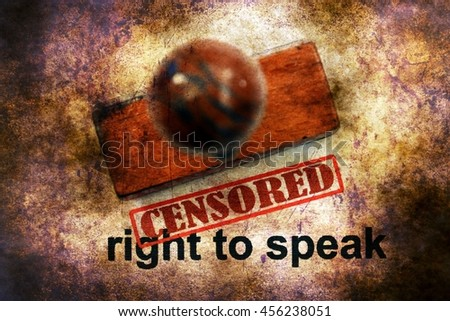 Censored right to speak grunge concept - stock photo