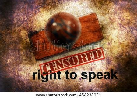 Censored right to speak grunge concept - stock photo