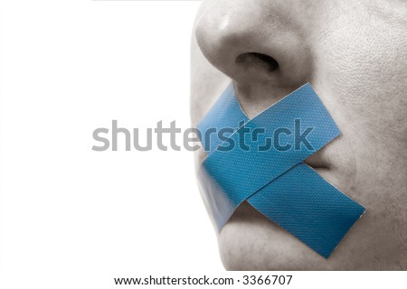 Censored Woman with blue tape on mouth. Colorkey, Face black-white. Isolated on white. - stock photo