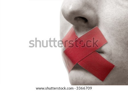 Censored Woman with red tape on mouth. Colorkey, Face toned. Isolated on white. - stock photo