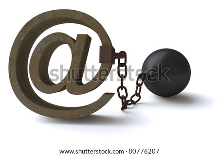 Censoring the E-mails, lack of freedom of information. - stock photo