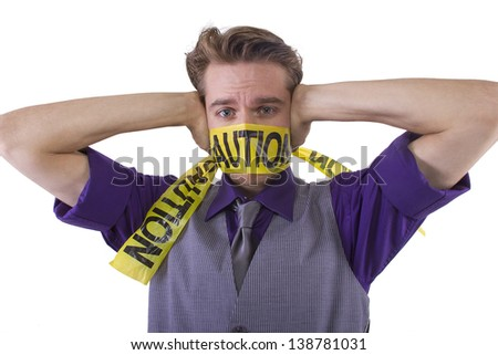 Censorship concept.  Be cautious of what is said. - stock photo