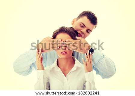 Censorship concept. Two business people  - stock photo
