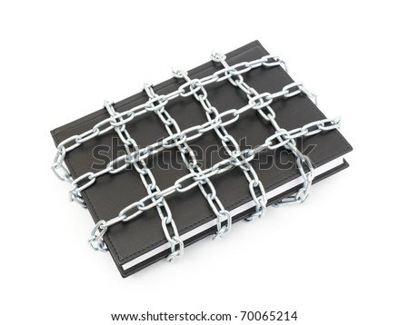 Censorship concept with book and chains - stock photo