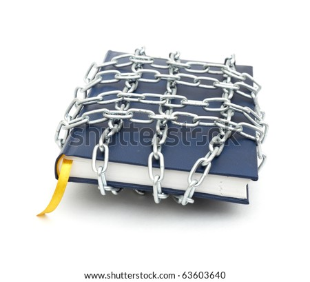 Censorship concept with book and chains on white - stock photo
