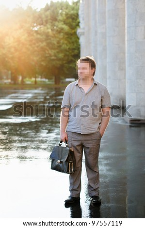 Censorship outdoors portrait of middle age man - stock photo