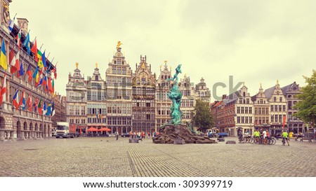 Cental square of Antwerp. City Hall and Brabo fountain. Creative filter effect - stock photo