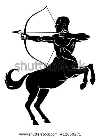 Centaur concept of mythical centaur archer horse man character with a bow and arrow - stock photo