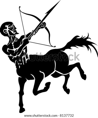 Centaur. Monochrome  illustration of a stylised Centaur with a bow and arrow - stock photo
