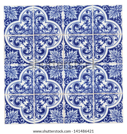 centenary facade in a old house in Lisbon, Portugal, Europe - ceramic panel isolated on white - stock photo