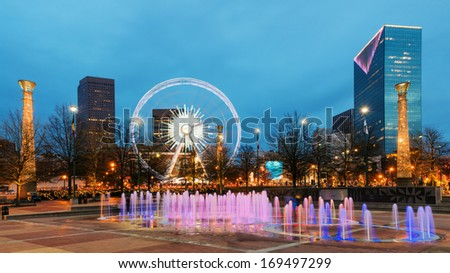 Centennial Olympic Park in Atlanta during blue hour after sunset - stock photo