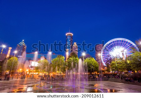 Centennial Olympic Park in Atlanta during twilight hour after sunset - stock photo