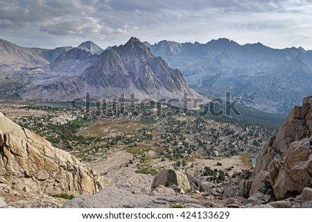 Center Basin and Center Peak from University Pass in the Sierra Nevada Mountains - stock photo