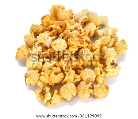 center focus Popcorn  isolated on white background
