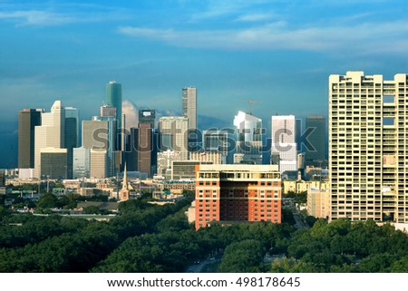 Center Houston, Downtown in the evening. Texas, United States