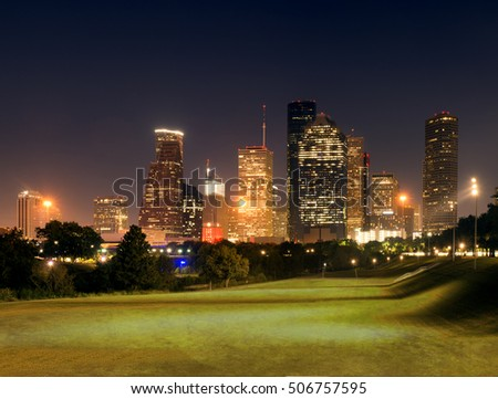 Center Houston, Downtown in the night. Texas, United States