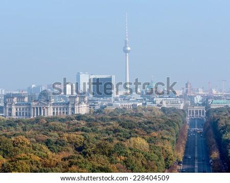 Center of Berlin seen from the Victory Column in Tiergarten - stock photo