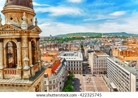 Center of Budapest, View from the St.Stephen Basilica. - stock photo