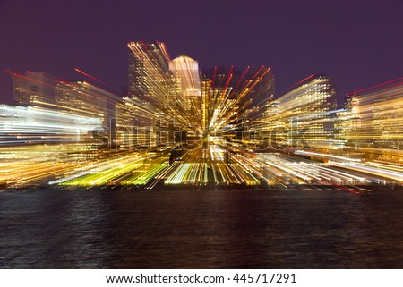 Center of city in the evening with zooming explosive effect, Boston, Massachusetts, USA - stock photo
