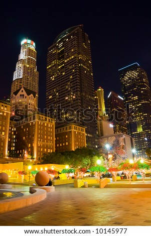 Center of downtown Los Angeles at night - stock photo