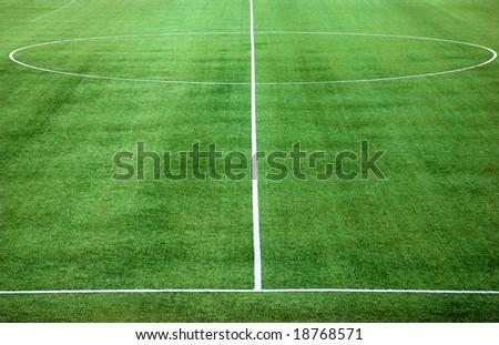 Center of green soccer field - stock photo