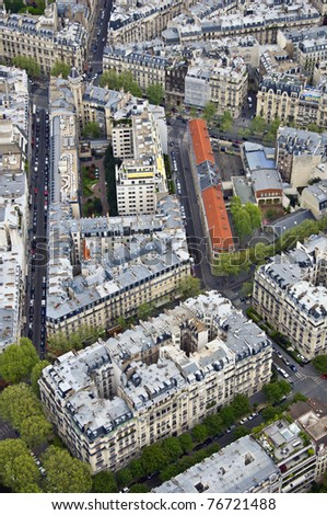 Center of Paris from the top. Roofs and streets. Panorama City - stock photo