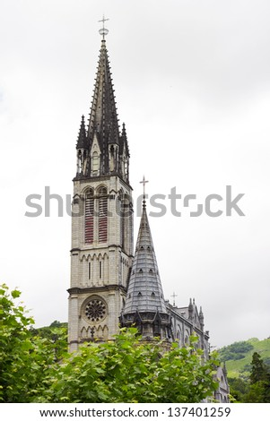 Center of pilgrimage to famous cathedral in Lourdes, France