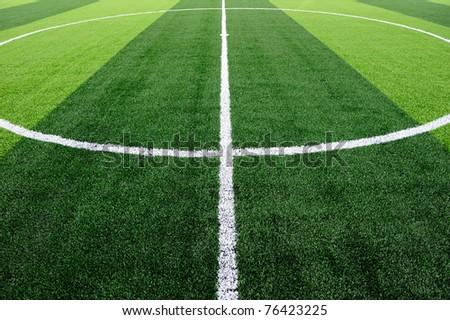 Center of soccer field - stock photo