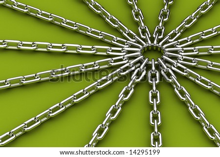 Center of tension - metal ring being the center of 15 chains pulling away - stock photo