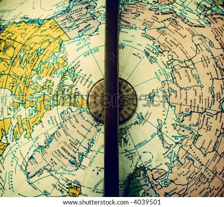 Center of vintage political Earth globe showing part of Europe, Asia and North America - stock photo
