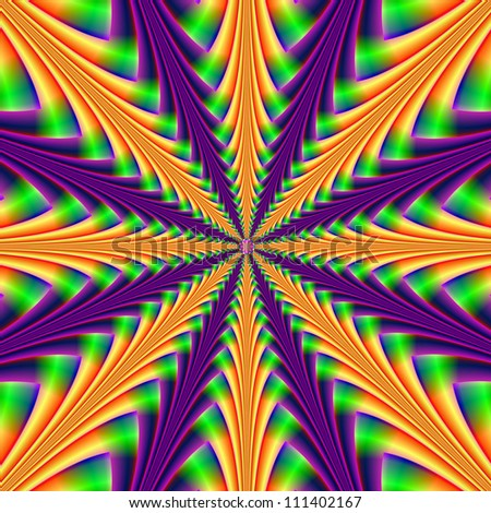 Center-point in Purple and Orange /Digital abstract image with a center point design in orange, purple and green.