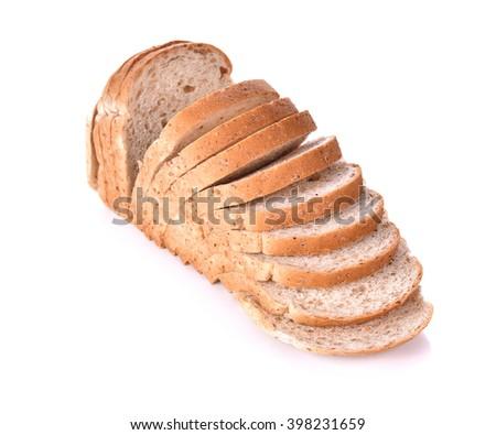 centerfocus Whole wheat bread isolated on white  - stock photo