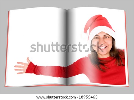 Centerfold page of magazine with santa woman in red costume - stock photo