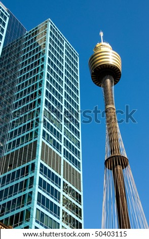 Centerpoint Tower, and an adjacent skyscraper, Sydney, Australia - stock photo