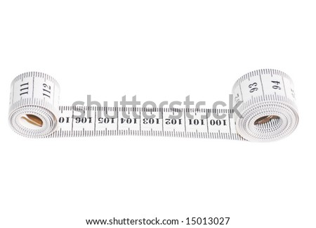 centimeter isolated on white, measuring tape.